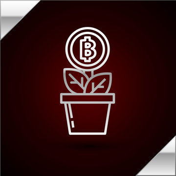 Silver line Bitcoin plant in the pot icon isolated on dark red background. Business investment growth. Blockchain technology, cryptocurrency mining. Vector Illustration