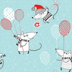 Seamless vector pattern with cute little rats with balloons. New Year's background. A cartoon characters. Animal symbol of new year 2020.