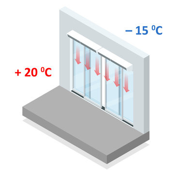 Isometric concept of air door or air curtain. A typical commercial air curtain enclosure. Clipart image isolated on white background