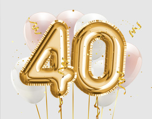 Happy 40th birthday gold foil balloon greeting background. 40 years anniversary logo template- 40th celebrating with confetti. Photo stock