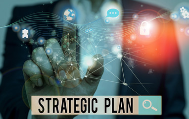 Word writing text Strategic Plan. Business photo showcasing a systematic process of envisioning a desired future Picture photo system network scheme modern technology smart device