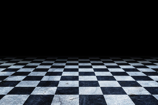 Black And White Checker floor Grunge Room. Checker floor empty space