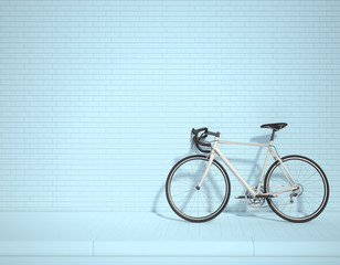 Photo sur Aluminium Velo White bicycle in the lower right corner of the frame 3d rendering. 3d illustration ecological urban transport. Vintage bicycle in the room against wall. Copy space. blue background.