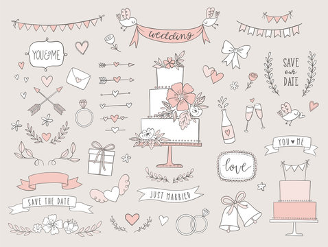 Set of wedding illustrations and icons. Hand drawn vector collection of design elements for for invitations, greeting cards, posters.
