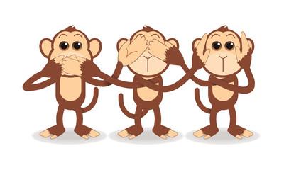 3 monkeys cartoon close mouth eye and ear vector illustration isolated