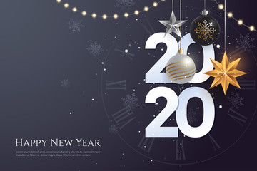 Happy new year 2020 greeting card template with copy space. Hanging Christmas toys and garlands with light bulbs on dark background. Winter Holiday banner concept. Vector eps 10. Fotomurales