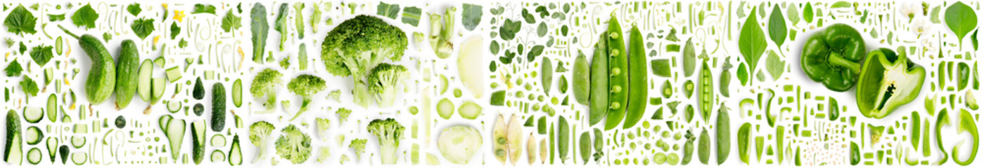Green Vegetable Slice and Leaf Collection