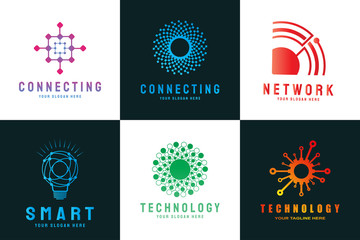 Future digital technology logo template, network, internet, connection, brainstorming ideas, vector art line design, illustration elements