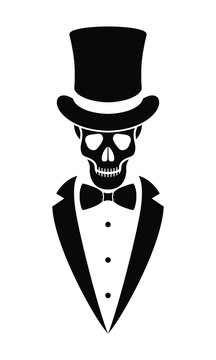 Skeleton gentleman graphic icon. Human skull in top hat, tuxedo and bow tie sign isolated on white background. Vector illustration