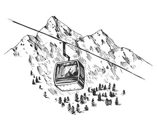 Sketch of ski resort. Hand drawn illustration converted to vector. Isolated on white background