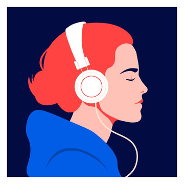 The girl listens to music on headphones. Music therapy. Profile of a young woman. Musician avatar side view. Vector flat illustration