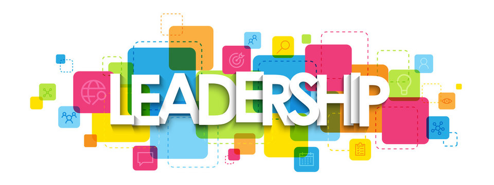 LEADERSHIP typography banner on colorful squares with symbols