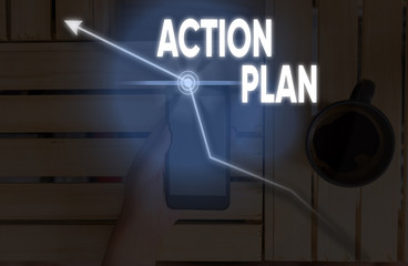 Writing note showing Action Plan. Business concept for detailed plan outlining actions needed to reach goals or vision