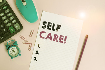 Word writing text Self Care. Business photo showcasing the practice of taking action to improve one s is own health Calculator clips alarm clock mouse sheet pencil colored background