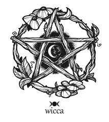 Wiccan element. Graphic pentagram with flowers and leaves.