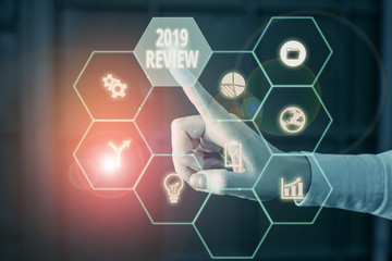 Word writing text 2019 Review. Business photo showcasing New trends and prospects in tourism or services for 2019 Picture photo system network scheme modern technology smart device