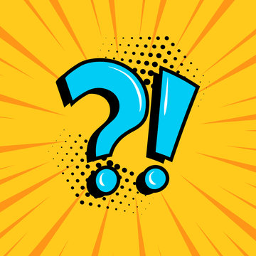 Question mark and exclamation point, blue signs on yellow comic banner in pop art style. Vector