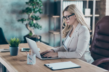 Profile photo of amazing blond business lady resourceful person looking seriously notebook texting...