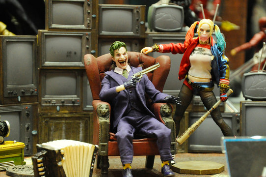 KUALA LUMPUR, MALAYSIA -NOVEMBER 21, 2018: Selected focused on Suicide Squad model scale action figure from DC comics and movies. Supervillains character assembled to fight the enemy.