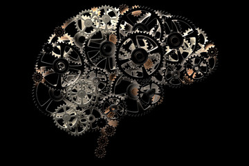 3D rendering of a conceptual image of a human brain made of cogwheels