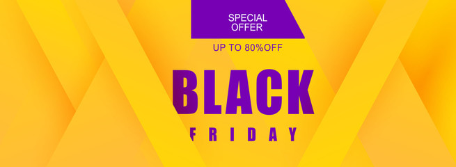 Discount Banner Tag Promotion Template geometric modern banner in yellow and purple for sale, black friday, weekend sale. Black Friday sale banner design for a store or online store. Vector abstract.
