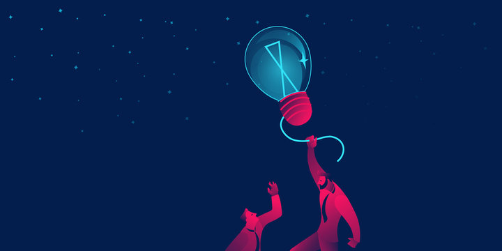 Power of idea, successful startup business concept. businessman flying on lightbulb