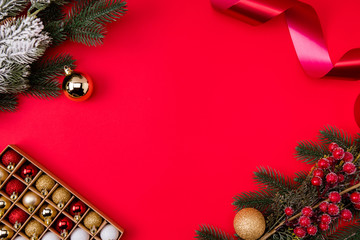 Top above high angle view photo of empty space with toys branches of fir tree toys tinsel...
