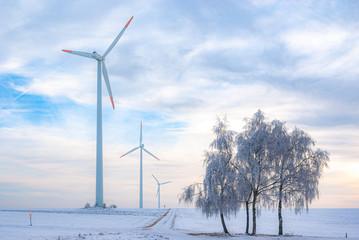 Wind Power Plant in Rural Area in Winter