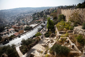 A general view shows the Palestinian neighborhood of Silwan to the left, and the surrounding walls of Jerusalem's Old City to the right