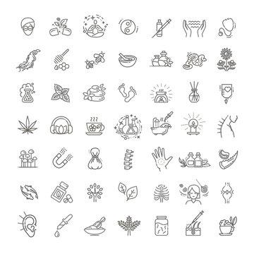 Set of vector illustrations of different kinds of alternative medicine