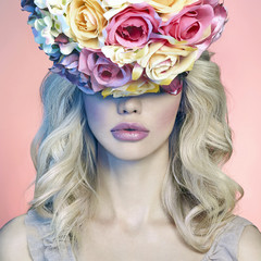 beauty girl with roses flowers