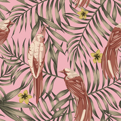 Stores à enrouleur Botanique Brown tropical birds pink background