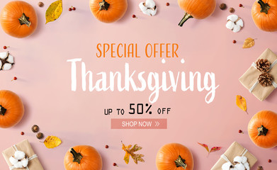 Wall Mural - Thanksgiving sale with autumn pumpkins with gift boxes