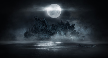 Keuken foto achterwand Grijze traf. Futuristic night landscape with abstract landscape and island, moonlight, shine. Dark natural scene with reflection of light in the water, neon blue light. Dark neon background. 3D illustration