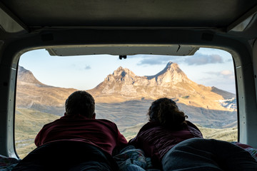 Freedom of a camper van exploring the mountains eating, cooking and cleaning looking at the Durmitor National Park