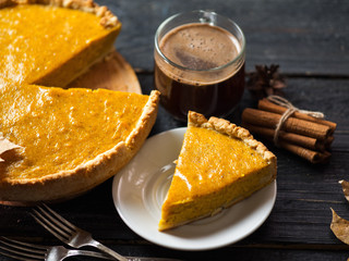 Traditional American thanksgiving pumpkin pie and coffee mug