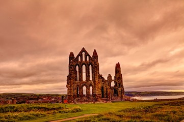 Medieval ruin of Whitby Abbey in North Yorkshire, Great Britain. Fototapete