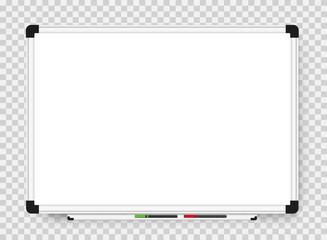 Empty white marker board on transparent background. Realistic office Whiteboard. Vector illustration Fotobehang