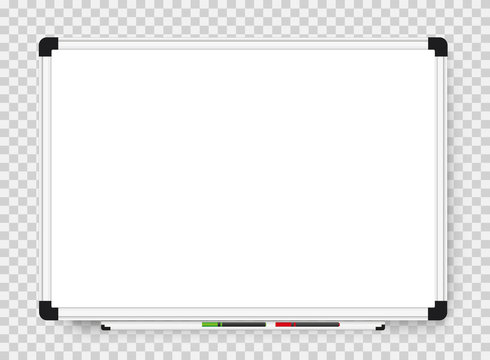 Empty white marker board on transparent background. Realistic office Whiteboard. Vector illustration