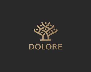 Tree logo icon design abstract minimal style illustration. Park nature vector sign symbol logotype