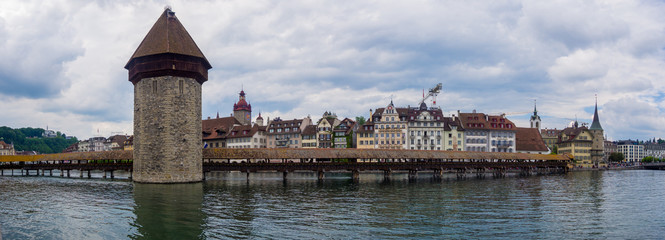 Panorama Wasserturm in Luzern mit Kapellbrücke