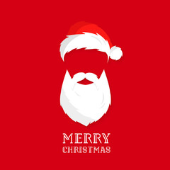 Santa hat, mustache, beard. Vector flat icon