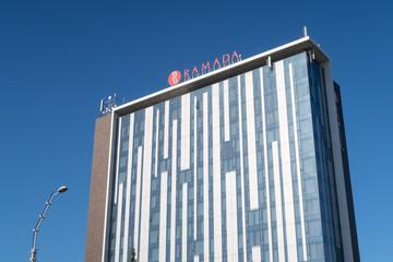 Sibiu, Romania - 5 Nov, 2019: Ramada Sibiu Hotel is a modern 4-star hotel near to the historical city center.