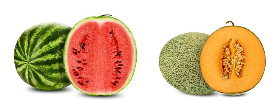 Green watermelon and cantaloupe melon with halves in cross-section, isolated on white, copy space. Juicy red and yellow flesh with seeds. Close-up.