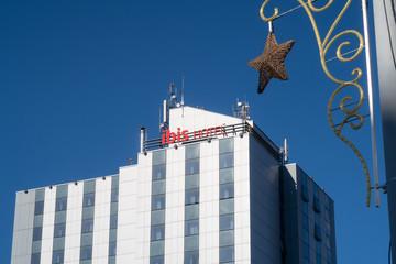 Sibiu, Romania - 5 Nov, 2019: Ibis hotel near the historical centerof Sibiu.  Ibis hotel is an international hotel company