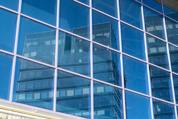 Sibiu, Romania - 5 Nov, 2019: Twin skyscrapers office buildings in  buildings in Sibiu, Romania.