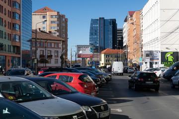 Sibiu, Romania - 5 Nov, 2019: Traffic in the downtown of Sibiu, Romania.