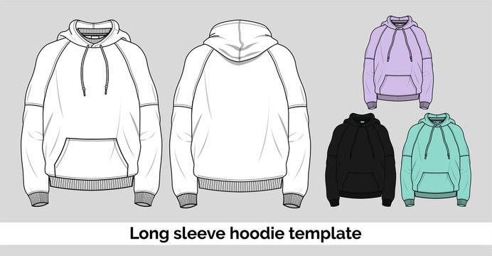 Contemporary vector hoodie template drawing