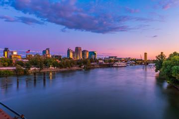 Skyline of Sacramento, California, USA at Dusk with Sacramento river and Tower Bridge