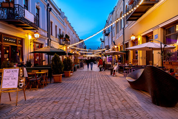 street at night in tbilisi